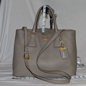 Prada BN2794 Crossbody Satchel Gray Leather Bag